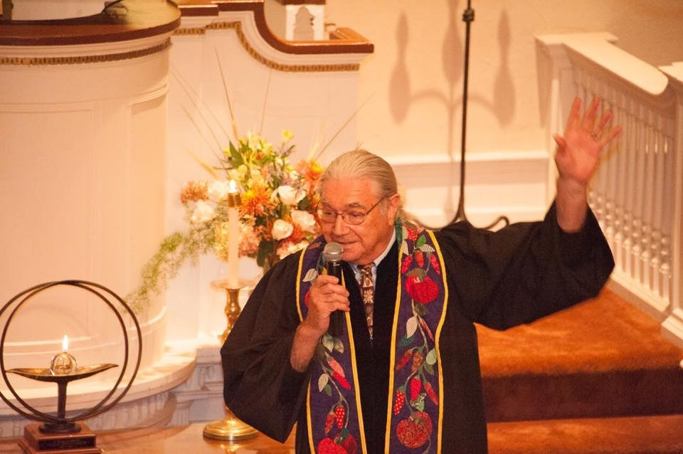 Rev. Clyde Grubbs telling a story at worship