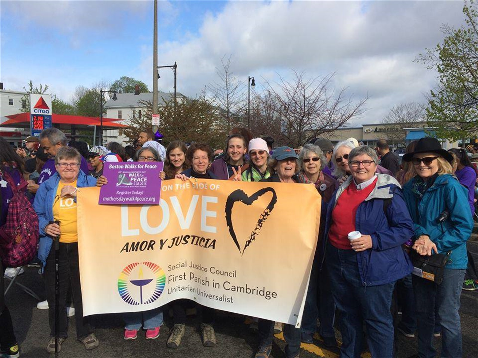 First Parish members participate in the Mother's Day Walk for Peace